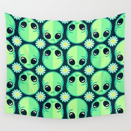 Sad Alien and Daisy Nineties Grunge Pattern Wall Tapestry