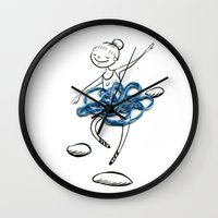 ballerina Wall Clocks featuring ballerina by woollover