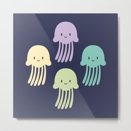 Cute colorful jellyfishes Metal Print