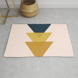 Triangle Trio Minimalist Geometric in Mustard Yellow Navy Blue Blush Pink Rug