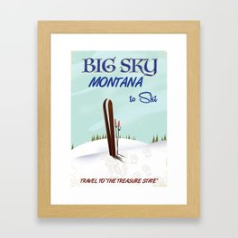 big sky Montana ski vintage travel poster Framed Art Print