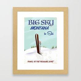 big sky Montana ski vintage travel poster Framed Art Print
