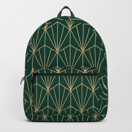 Art Deco Vector in Green and Gold Backpack