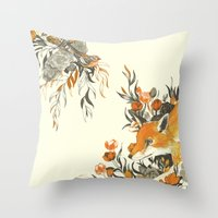 japanese Throw Pillows featuring fox in foliage by Teagan White