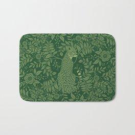 Spring Cheetah Pattern - Forest Green Bath Mat