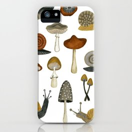 mushrooms and snails iPhone Case