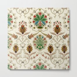 Indian embroidery antique vinatge pattern print Metal Print
