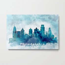 Blue Watercolor Dallas skyline design Metal Print