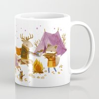 fall Mugs featuring Critters: Fall Camping by Teagan White
