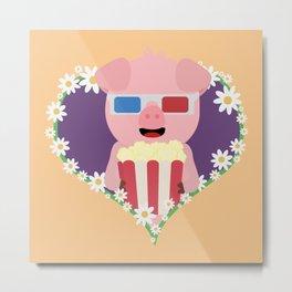 Cinema Pig with flower heart Metal Print