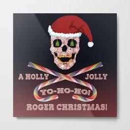 Holly Jolly Roger Xmas Metal Print