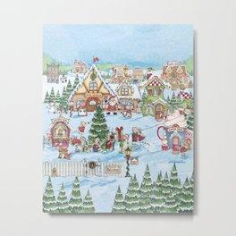 Santa's Christmas Winter Village Metal Print