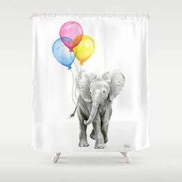 Baby Elephant with Balloons Nursery Animals Prints Whimsical Animal Shower Curtain