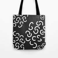 fries Tote Bags featuring Curly Fries by Astrid Schwarz