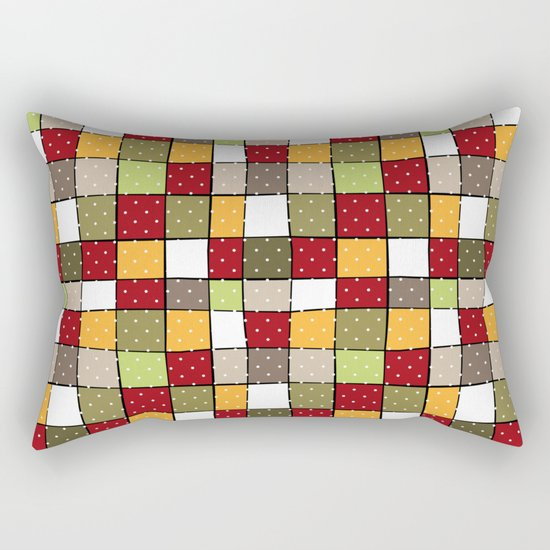 Retro . Squares with polka dots . Rectangular Pillow