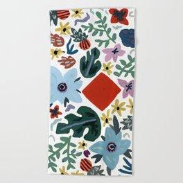 Red Flora Beach Towel