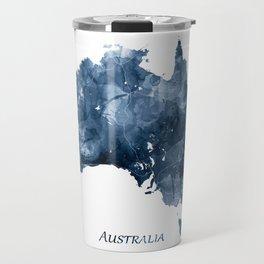 Australia Map Blue Watercolor Art by Zouzounio Art Travel Mug