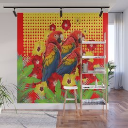 GREEN TROPICAL YELLOW MACAWS & RED YELLOW HIBISCUS Wall Mural