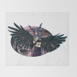 Riae Suicide Vector Illustration Throw Blanket