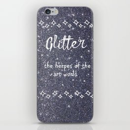 Quirky funny glitter - black iPhone Skin