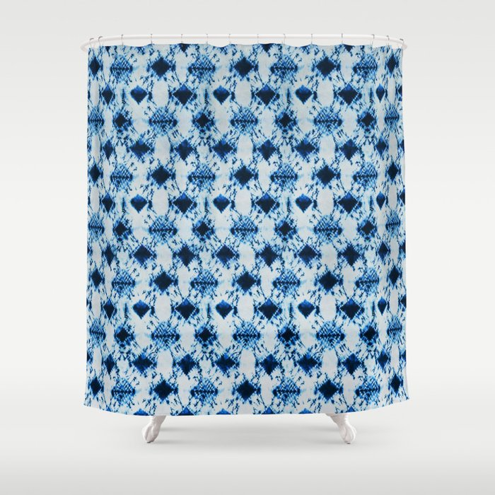 Small Tie Dye Diamond In Ocean Blue Shower Curtain