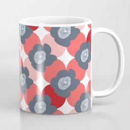 Mid Century Modern Flower Trellis Pattern Red Coral and Slate Blue Gray Coffee Mug