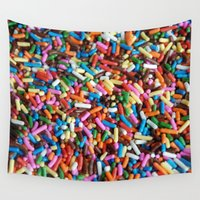 sprinkles Wall Tapestries featuring Rainbow Sprinkles by Kim Huff