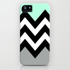 DOUBLE COLORBLOCK CHEVRON {MINT/BLACK/GRAY} iPhone (5, 5s) Slim Case