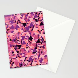 Colourful triangular mosaic in the nuance of pink Stationery Cards