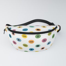 Music Player Icons Polka Dots (Multicolor on White) Fanny Pack