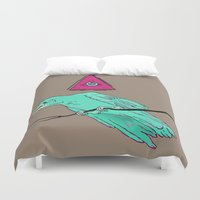 occult Duvet Covers featuring occult raven by Ewa Pacia