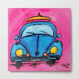 Retro VW Surf- Bug in Blue Metal Print
