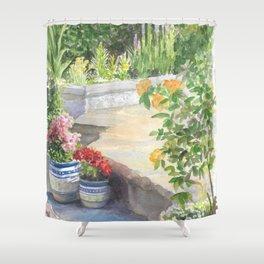 Poolside Garden in So Cal Shower Curtain