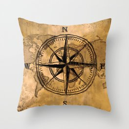 Destinations - Compass Rose and World Map Throw Pillow