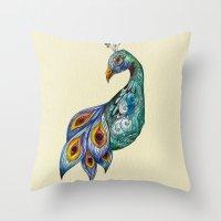 peacock Throw Pillows featuring Peacock by SilviaGancheva