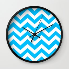 Deep sky blue - heavenly color -  Zigzag Chevron Pattern Wall Clock