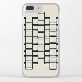 Stacks of Rectangles, Charcoal Gray on Cream Clear iPhone Case