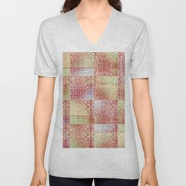 Faux Patchwork Quilting Unisex V-Neck