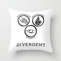 divergent Throw Pillows featuring Divergent (Black) by Lunil
