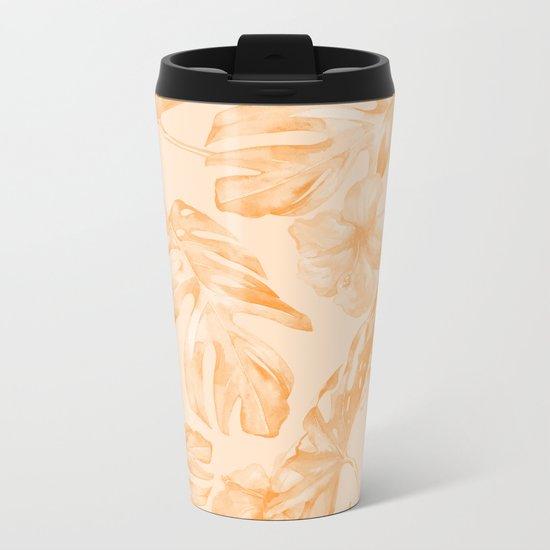 Island Vacation Hibiscus Palm Leaf Orange Metal Travel Mug