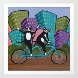 Tandem Bicycle Cats Art Print