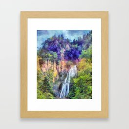 Mountain waterfall Framed Art Print