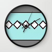 charlie brown Wall Clocks featuring Charlie Blue by Bunhugger Design