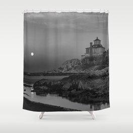"Full ""Pink"" Moon at Good Harbor Beach BW Shower Curtain"