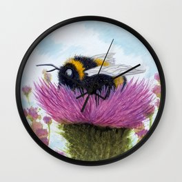 Bumblebee on a Thistle Wall Clock