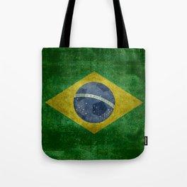 Vintage Brazilian National flag with football (soccer ball) Tote Bag