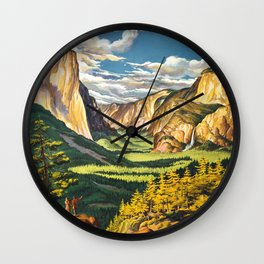Yosemite National Park Vintage Travel Poster Landscape Illustration Wall Clock