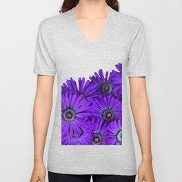 Purple succulent flowers watercolor effect Unisex V-Neck