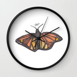 """Born"" Monarch Butterfly Orange / Black / Yellow Wall Clock"