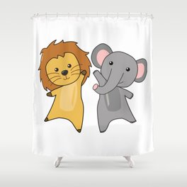 Elephant Lion Zoo Cute Animals For Kids Wild Shower Curtain
